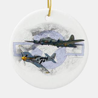 P-51 Mustang flying escort Ceramic Ornament