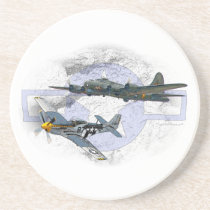 P-51 Mustang flying escort Coaster
