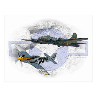 P-51 Mustang flying escort Postcard