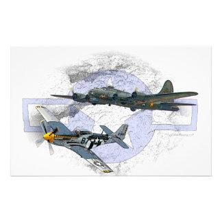 P-51 Mustang flying escort Stationery