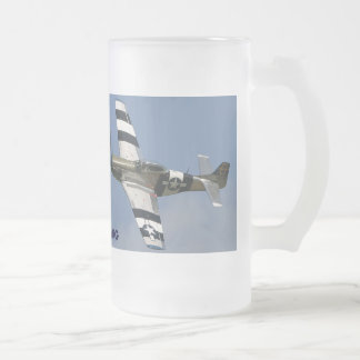 P-51 MUSTANG FROSTED GLASS BEER MUG