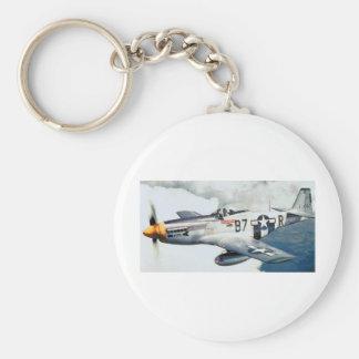 P-51 MUSTANG BASIC ROUND BUTTON KEYCHAIN