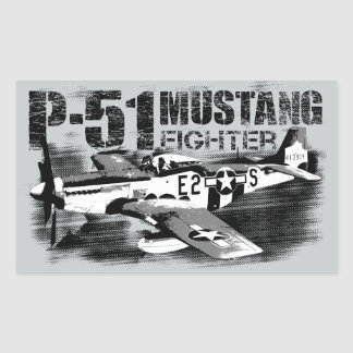 P-51 Mustang Rectangle Stickers