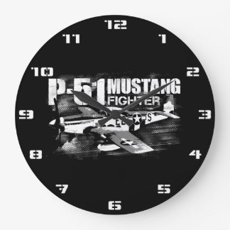 P-51 Mustang Round (Large) Wall Clock