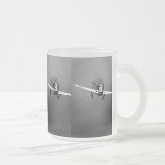 P-51 Mustang takeoff in storm Frosted Glass Coffee Mug