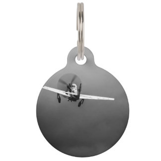 P-51 Mustang takeoff in storm Pet ID Tag