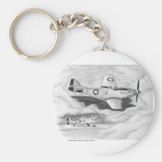 (P-51) Mustango Llavero Redondo Tipo Pin