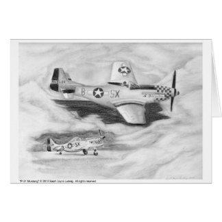 (P-51) Mustango Tarjeta De Felicitación