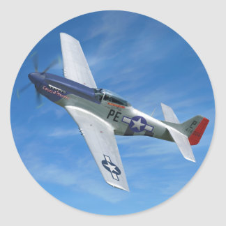 """P-51D """"Cripes A' Mighty"""" Classic Round Sticker"""