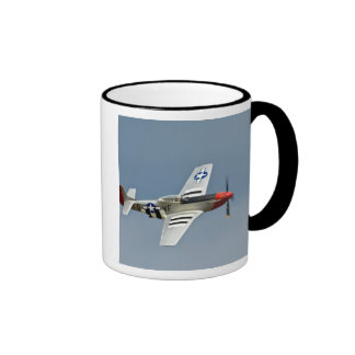 P-51D Mustang Fighter with D-Day markings flying Ringer Coffee Mug