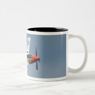 P-51D Mustang Fighter with D-Day markings flying Two-Tone Coffee Mug