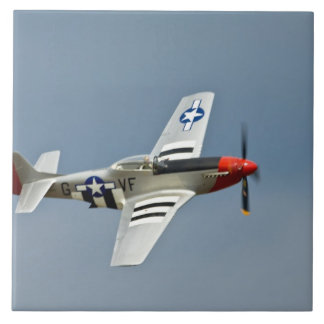 P-51D Mustang Fighter with D-Day markings flying Large Square Tile