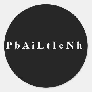 P b A i L t I c N h Classic Round Sticker