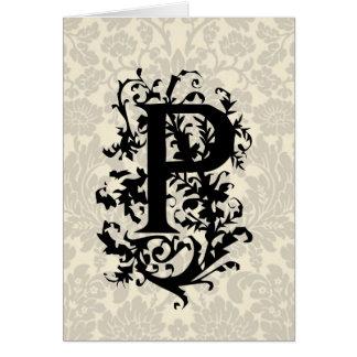 P Baroque monogram Card
