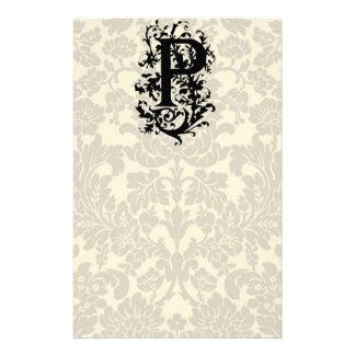 P Baroque monogram Stationery