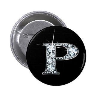 """P"" Diamond Bling Button"