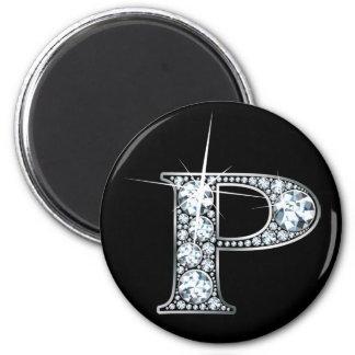 """""""P"""" Diamond Bling Magnet"""