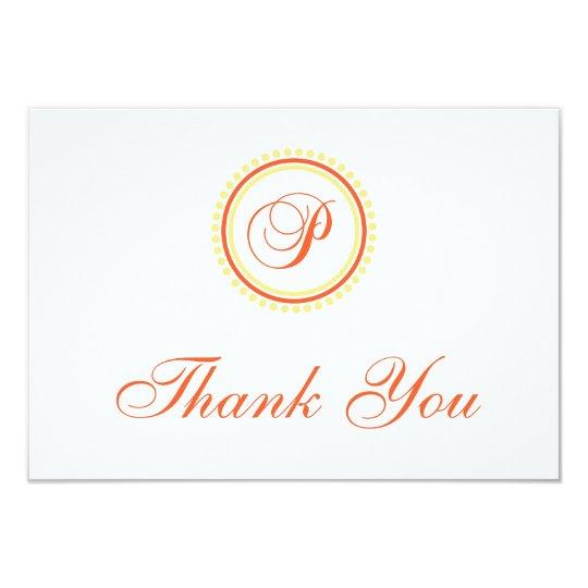P Dot Circle Monogam Thank You (Orange / Yellow) Card
