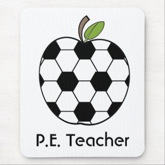 P.E. Balón de fútbol del profesor Apple Mousepad Alfombrillas De Ratón