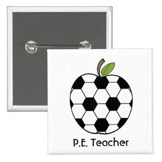 P.E. El balón de fútbol del profesor Apple abotona Pins