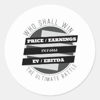 P/E Ratio versus EV/EBITDA Ratio Classic Round Sticker