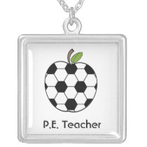 P.E. Teacher Necklace - Soccer Ball Apple