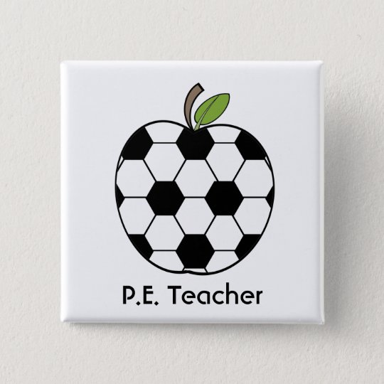P.E. Teacher Soccer Ball Apple Button