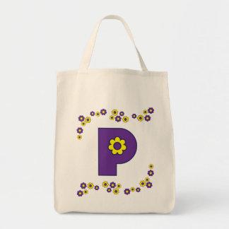 P en tote púrpura del monograma de Flores Bolsa Tela Para La Compra