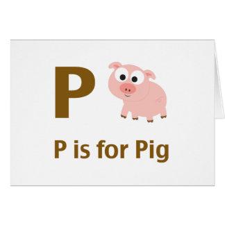 P está para el cerdo tarjeta pequeña