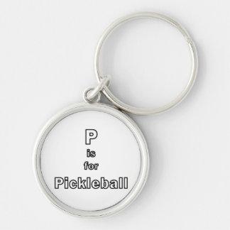p está para el esquema only.png del pickleball llavero redondo plateado
