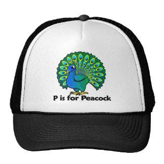 P está para el pavo real gorro de camionero