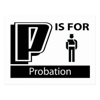 P está para la libertad condicional postales