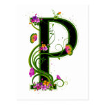 P floral postales
