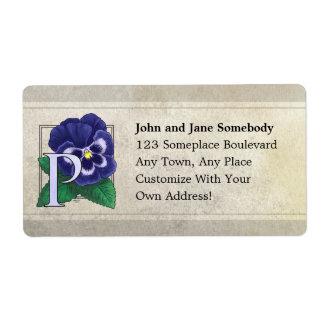 P for Pansy Flower Monogram Label