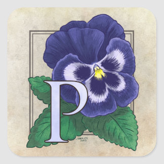 P for Pansy Flower Monogram Square Stickers