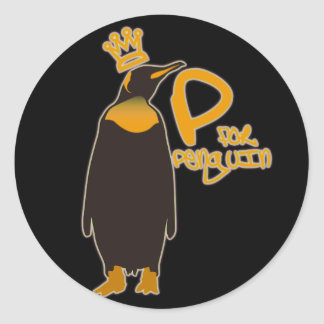 P for Penguin Round Stickers