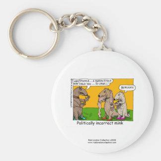 P.I. Mink (Human Stole) Cartoon On Novelty Magnet Basic Round Button Keychain