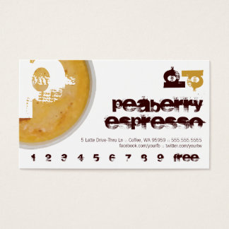 P - Initial Letter Foamy Coffee Cup Loyalty Punch Business Card