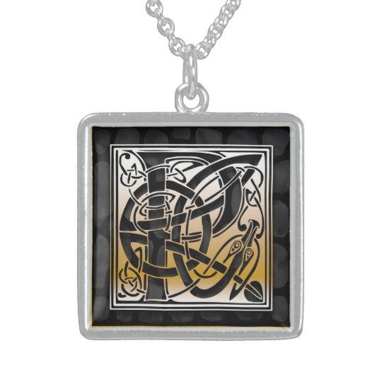 """P Initial Monogram """"Celtic Black Stone"""" Necklaces"""