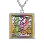 "P Initial Monogram ""Celtic Rainbow"" Necklace Pendants"