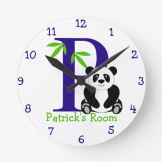 P is for Panda and Patrick-Child's Bedroom Round Clock