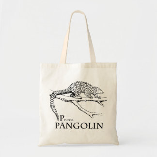 P is for Pangolin tote bag