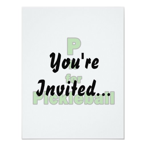 """p is for pickleball green black.png 4.25"""" x 5.5"""" invitation card"""