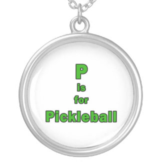 p is for pickleball green black.png round pendant necklace