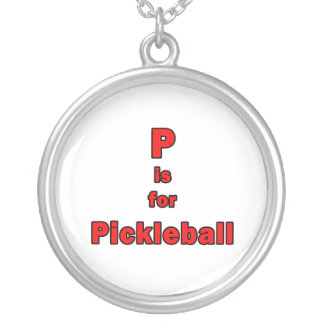 p is for pickleball red black.png round pendant necklace