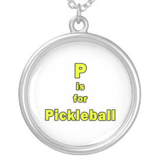 p is for pickleball yellow black.png round pendant necklace