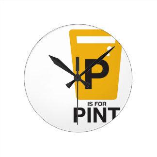 P is for Pint Wallclock