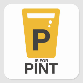 P is for Pint Square Sticker