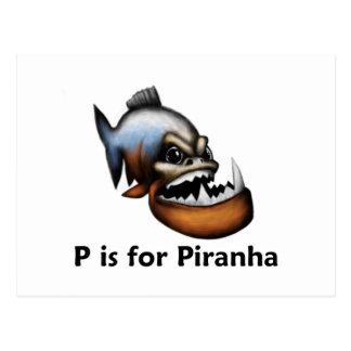 P is for Piranha Postcard