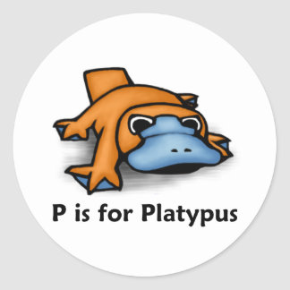 P is for Platypus Classic Round Sticker